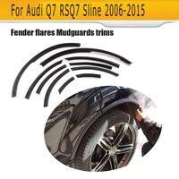 Для Q7 колеса арки автомобиля боковой крыло вспышки крышка Брызговики Накладка подходит для Audi Q7 RSQ7 Sline 2006 2015 матовый яркий черный PU