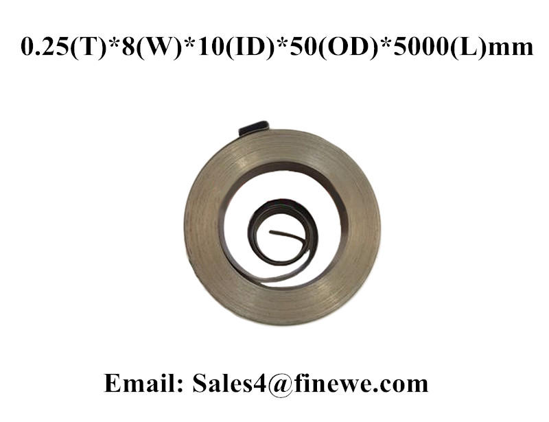 Купить с кэшбэком Manufacture Customized stainless steel 201 Constant Force Spiral Springs For Curtain 25000 Cycle Life 0.25*8*50*5000mm
