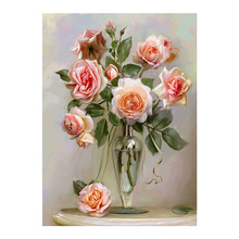 Pink Flower vase Diamond Painting Full Round Rose Peony New DIY Sticking Drill Cross Embroidery 5D Home Decoration