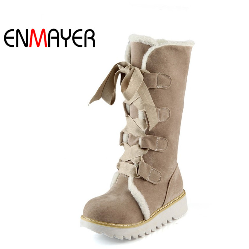 ENMAYER Fashion Round Toe Lace-Up Mid-Calf Snow Boots for Women Platform Winter Boots Flock Beautiful Girls Shoes Size 34-43 2018 genuine leather zipper winter boots round toe platform motorcycle boots elegant increased mid calf boots for women l6f2