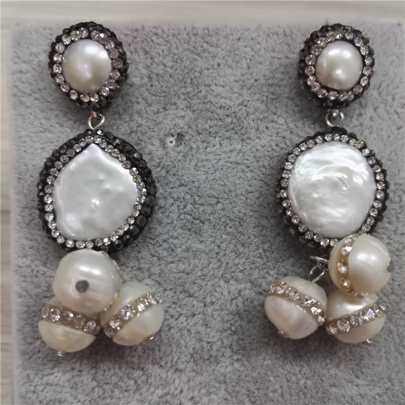 Boho Chandelier Natural Freshwater Closed Round Pearl Bead Charms Pave  White Rhinestone Top Dangle Earring For Women Wedding-in Drop Earrings from  Jewelry ... 2cb88b001388