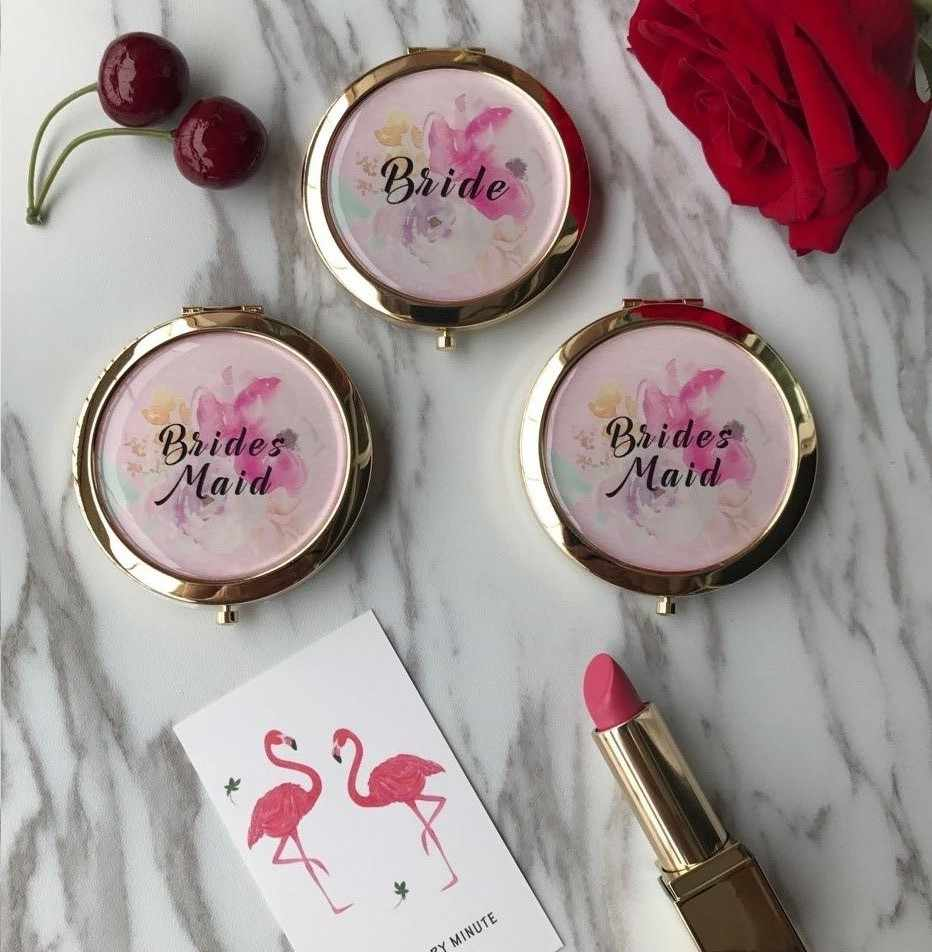 personalize any text language Unique Custom logo Wedding Bride to be Bridesmaid gifts Personalized portable compact mirror gift