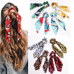 Bohemian Bow Hair Rope Ties Women's Floral Print Long Streamers Scrunchie Scarf Elastic Ribbon Hair Bands Girls Hair Accessories