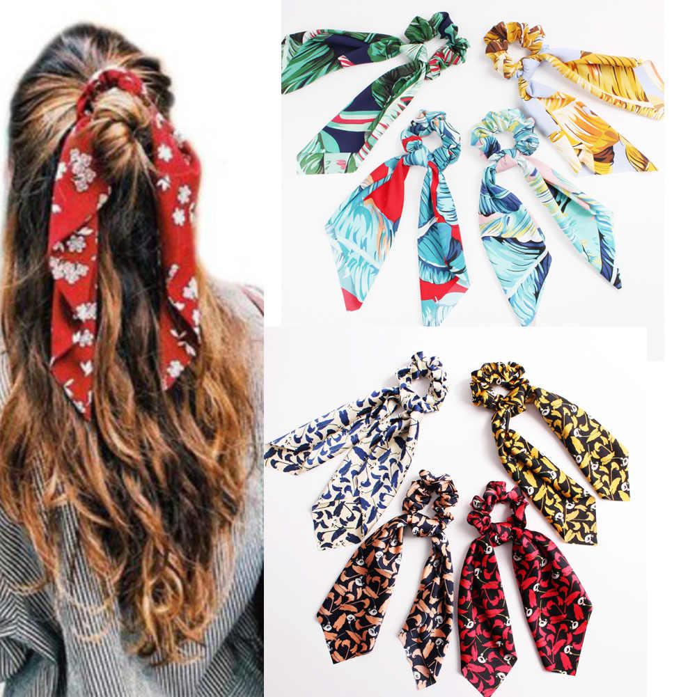 Bohemian yay saç halat bağları kadın çiçek baskı uzun flamalar Scrunchie eşarp elastik şerit saç bantları kızlar saç aksesuarları