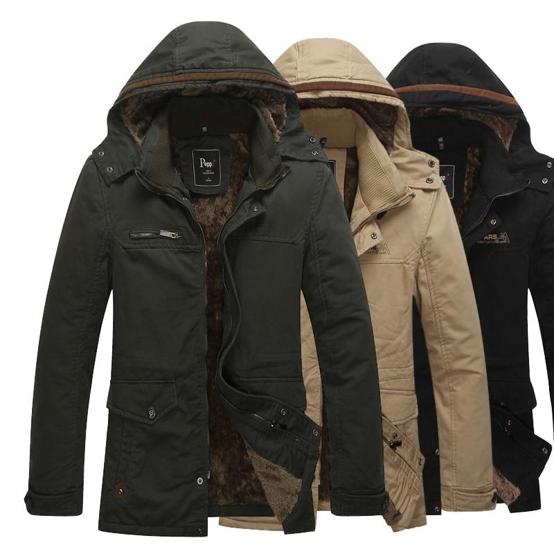 2017 New Mens Autumn Winter Jackets And Coats Plus Size M-4XL Men Plus Velvet Warm Jacket Military Style Outerwear