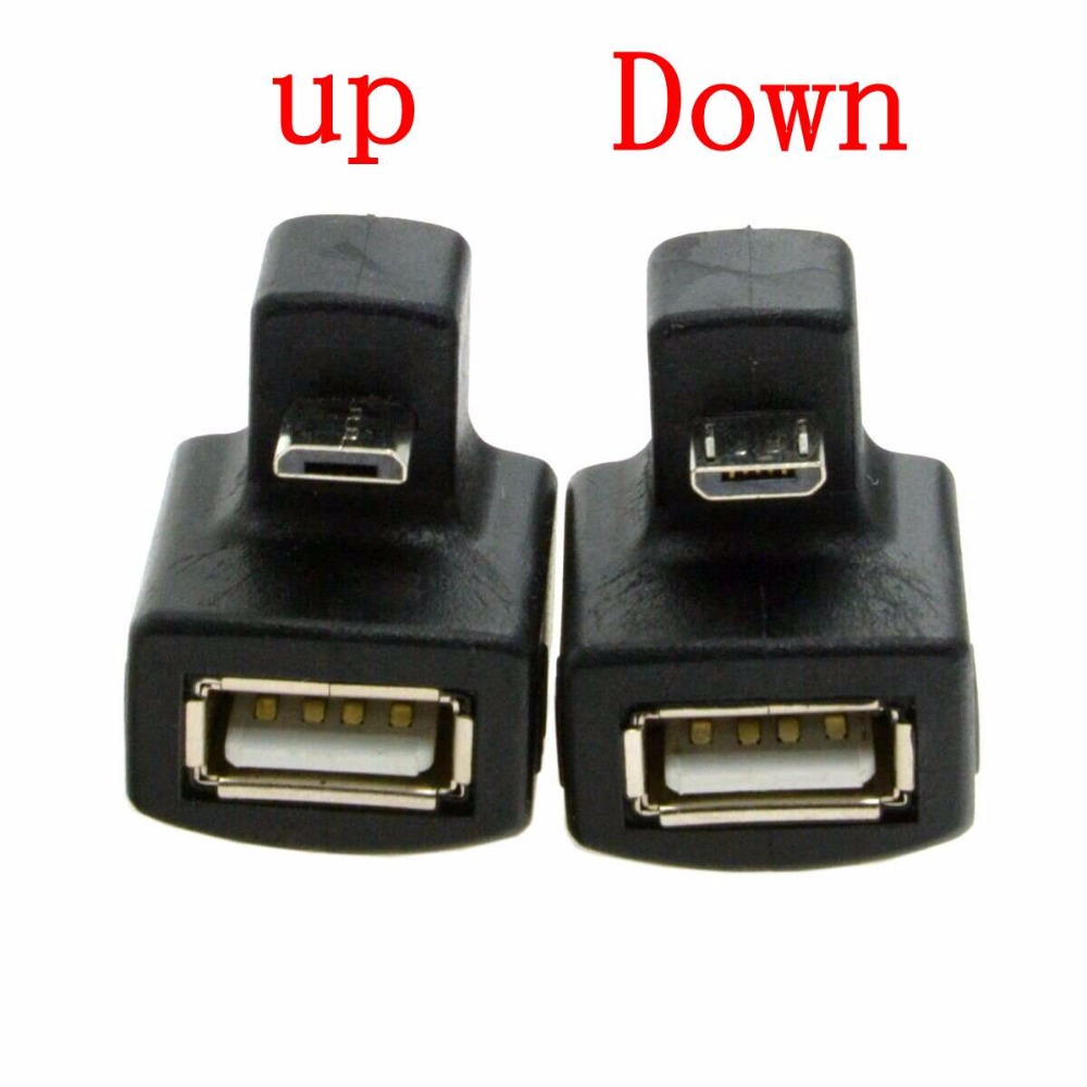 180 Degree Up & Down Right Angled V8 Micro USB OTG to USB 2.0 Female Extension Adapter connector for Cell Phone & Android Tablet micro usb 2 0 5pin male to female m to f extension connector adapter 9mm long plug connector 90 degree right