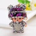 New Arrival Monchichi Keychain Cartoon Key Chain Crystal Rhinestone For Gift Woman Bag Key Ring Pendant