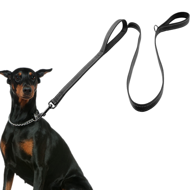 Dog Leash 2 Handles Black Nylon Padded Double Handle Leash For ...