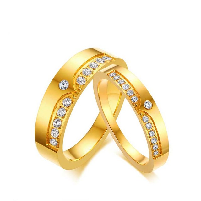 couple s gift band for gold stainless valentine best rings romantic steel wedding bands item color day lover