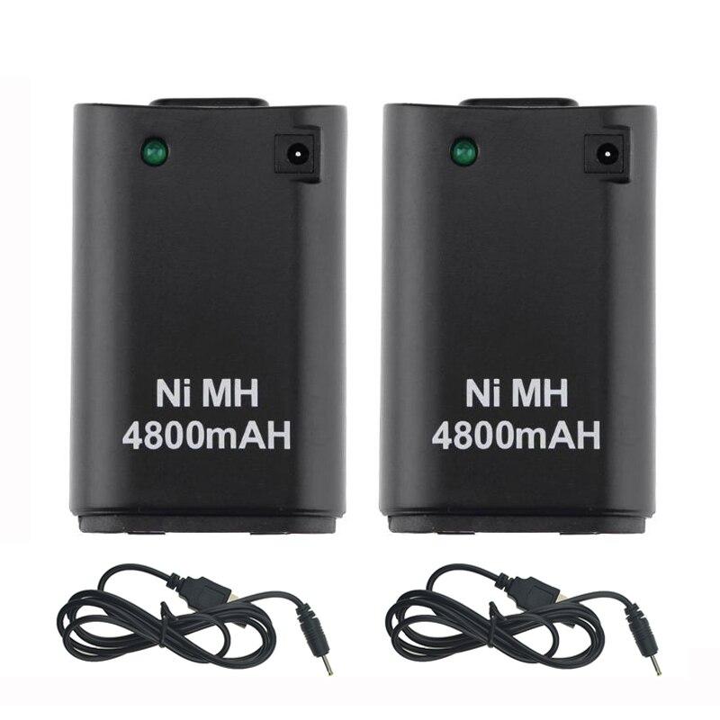 2 pçs x 4800 mah bateria + 2 x cabo do carregador para xbox 360 controlador bateria pacote xbox 360 gamepads substituição bateria