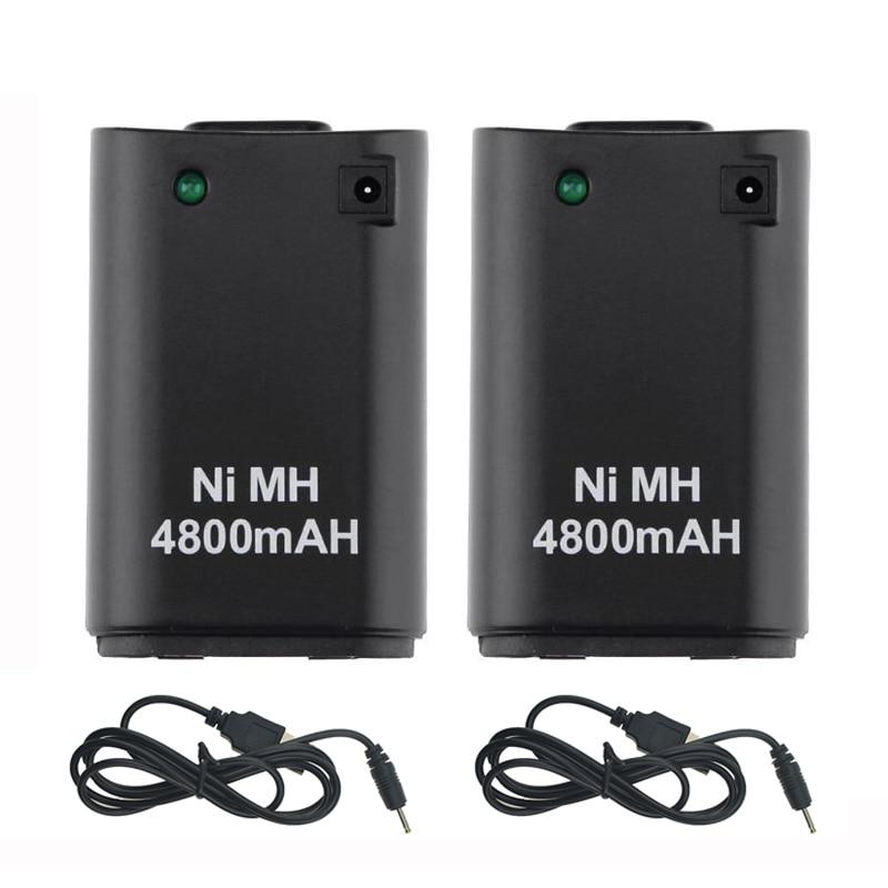 2 pièces x 4800 mAh batterie + 2 x câble chargeur pour Xbox 360 contrôleur batterie Pack Xbox 360 Gamepads remplacement Bateria