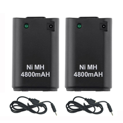 2Pcs x 4800mAh Battery Pack  + 2 x Charger Cable for Xbox 360 Controller Battery Pack Xbox 360 Gamepads Replacement Bateria