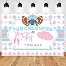NeoBack Touchdowns or Tutus Gender Reveal Backdrop Football Theme Baby Shower Party Backdrops Gender Surprise Photo Background fish net ocean pirate pirate beach theme party wedding kids birthday baby shower gender reveal decoration background photo both