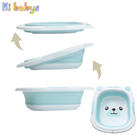 36.5cm Portable Baby Folding Basin Silicone Washbasin Collapsible Thicken Tourism Wash Water Holder Foldable Footbath Basin|Baby Tubs| |  -