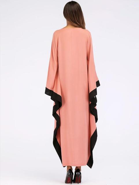 Arab elegant loose abaya kaftan islamic fashion muslim dress clothing design women bat sleeve dubai abaya Robe 2