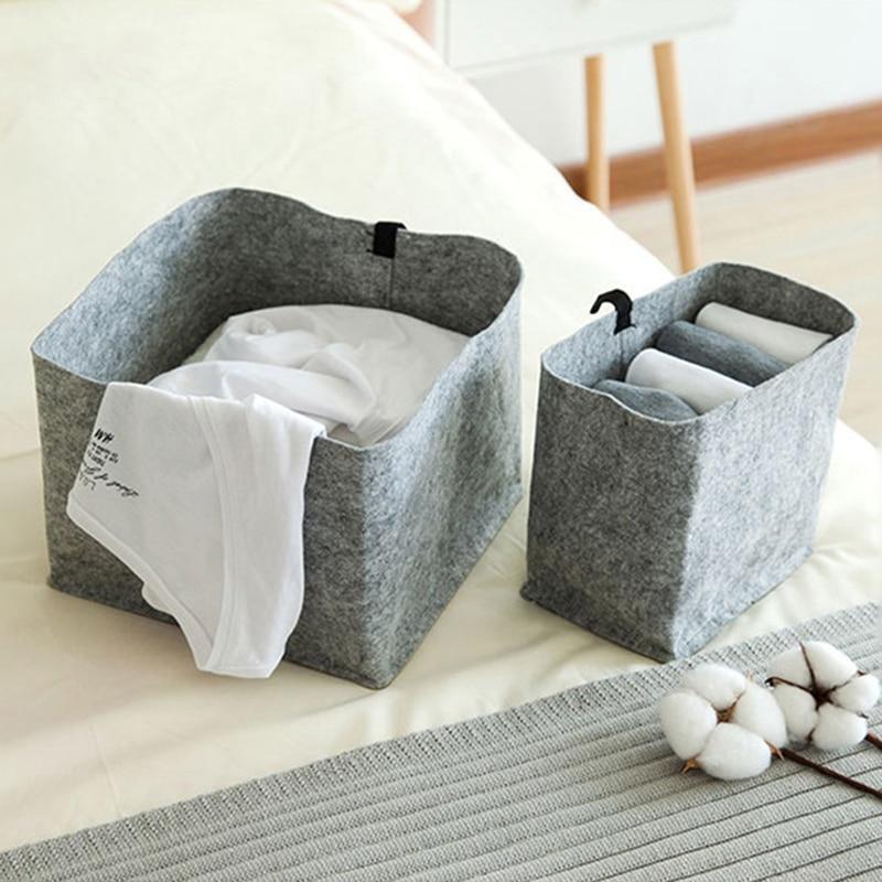 Storage Basket DIY Home Desktop Organize Folding Felt cloth Underwear Storage Box Sundries Storage bag Jewelry Makeup Organizer