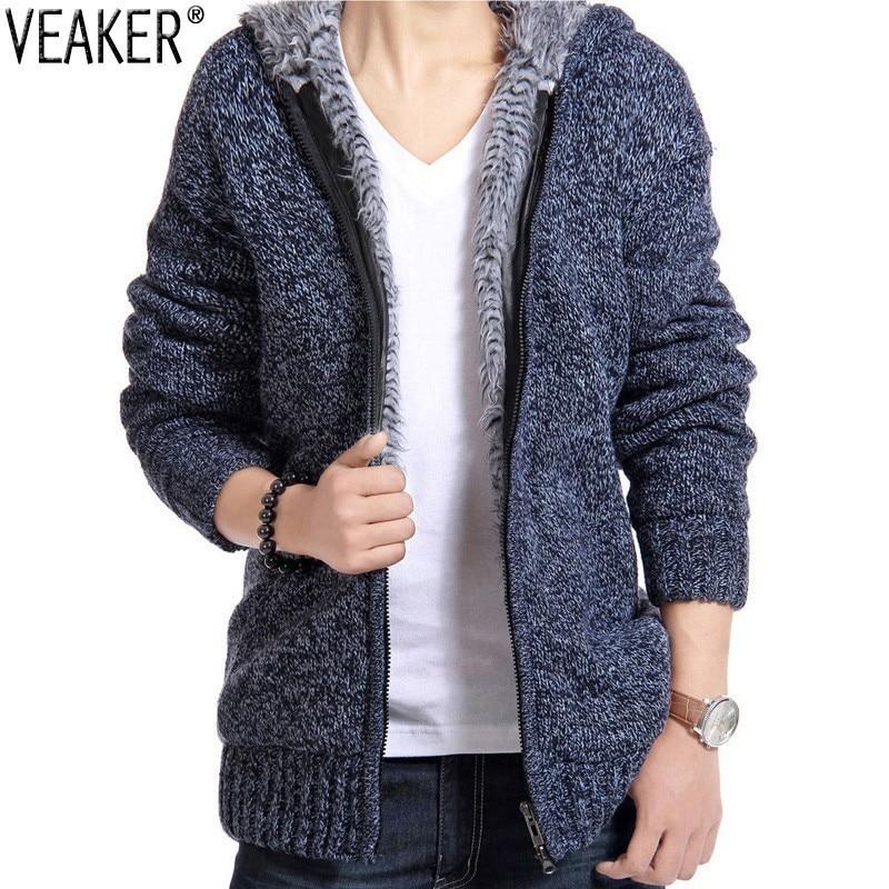 2018 Autumn Men's Zipper Sweatercoat Sweaters Fleece Hooded Knitted Jacket Coat Winter Casual Thick Sweater Coats Knitwear M-2XL