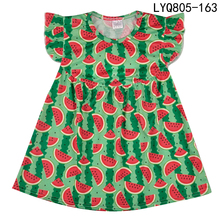 Высокое качество Boutique Remake Dress Fashion Flutter Sleeve Girl Dress Summer Полиэстер Хлопок Дети Ruffle Одежда