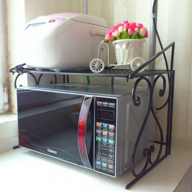 Besi Rak Dapur Microwave Oven Multifungsi Penyimpanan Kayu Shelves Pengiriman