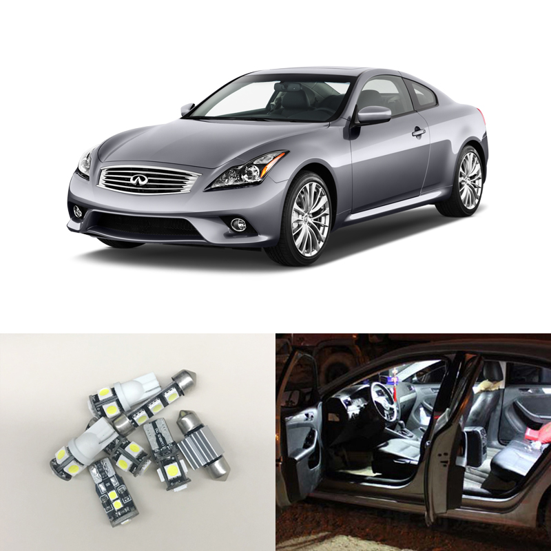 Fit For Infiniti G37 Coupe 2008-2011 WHITE Interior Led Package 7Pieces Deal Car License Plate Trunk Cargo Area Courtesy Lamp