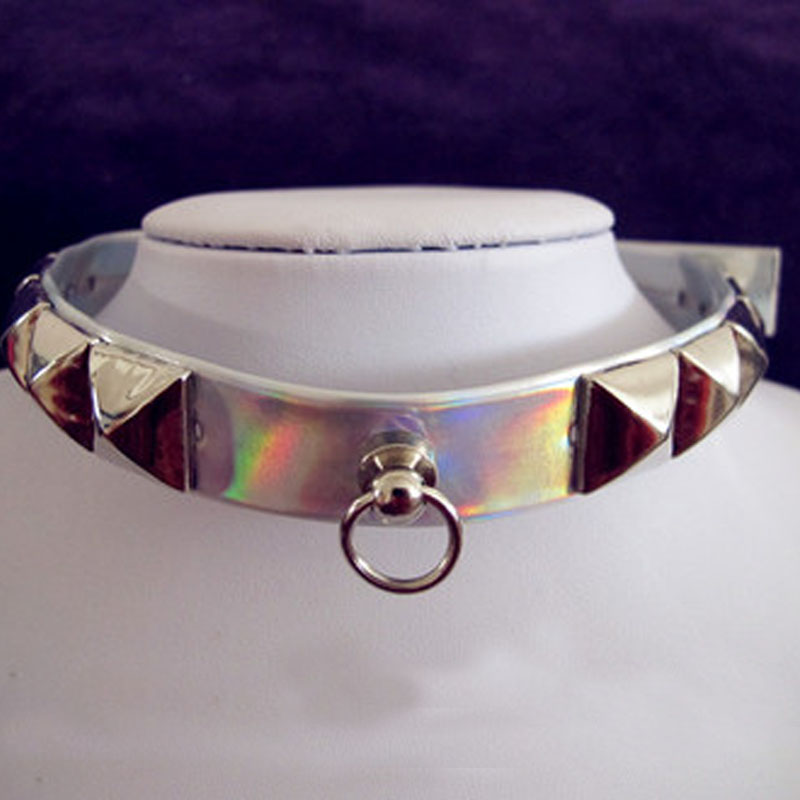 100% Handmade Silver Holographic Choker Rainbow Laser Collar Harajuku Rivet Studs Punk Gothic Necklace