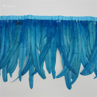 wholesale 10 yards long Lake Blue high quality natural rooster feather trims trimming with Satin Ribbon 30 35cm for women skirt