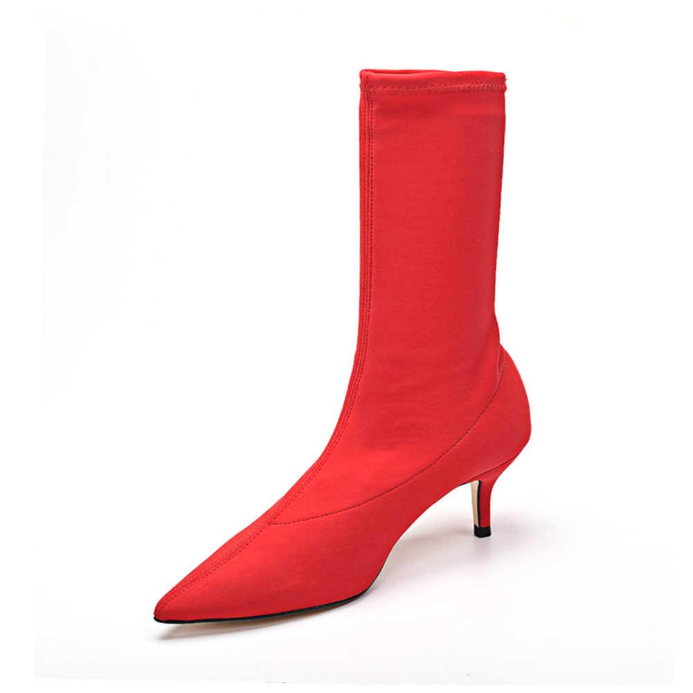 DORATASIA 2019 ใหม่เซ็กซี่ข้อเท้ายืดรองเท้าผู้หญิงขนาดใหญ่ 34-43 แฟชั่นชี้ Toe รองเท้าผู้หญิงรองเท้าส้นสูงรองเท้าผู้หญิง