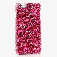 Donne di lusso Handmade 3D Rose Red Rhinestone Del Diamante Caso Della Copertura Del Telefono Per il iphone 4/4 S/5/5 S/6/6 S/7 Plus/Touch 5/6 coque fundas