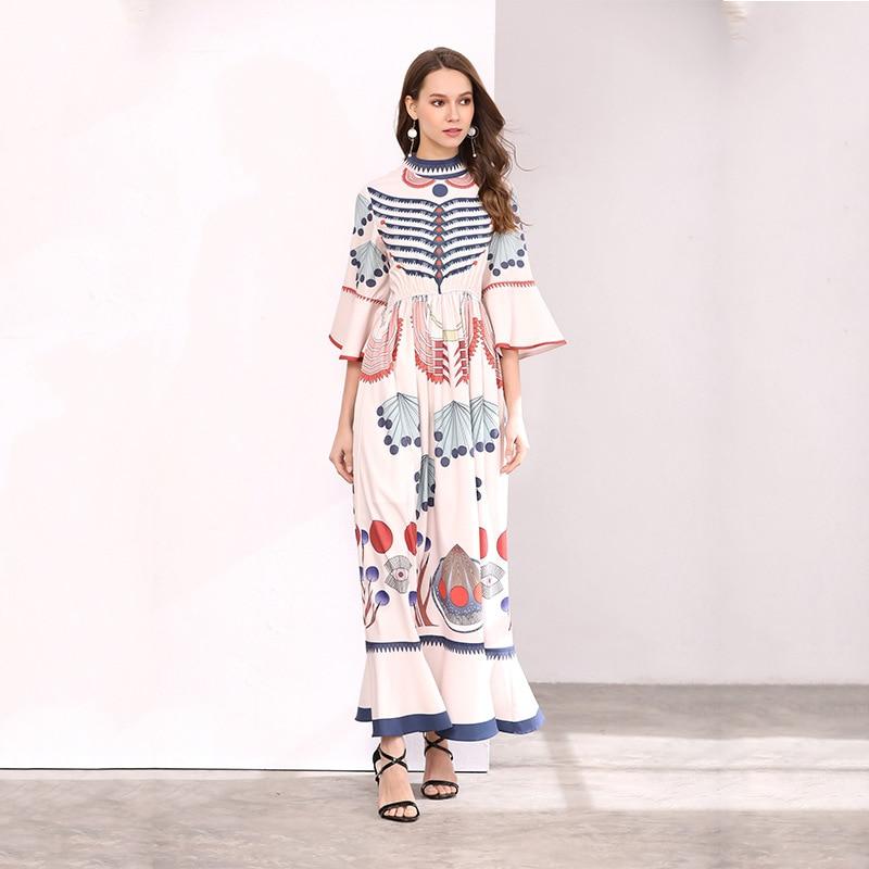 Femmes Vintage Haute Rose Piste Blanc Floral Mode De Maxi Plus 2018 Qualité Manches La À Robe Taille D'été Longue Longues Imprimé gEqSawx7