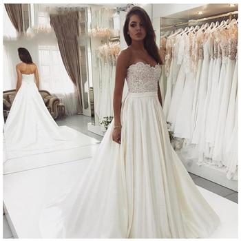 Elegant Wedding Dress Vestidos de novia 2019 White Ivory  A Line Bridal Dress Satin Sexy Romantic Floor Length Wedding Gowns