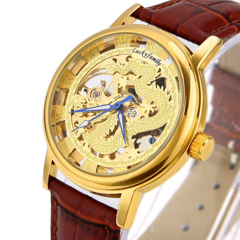 G6863 Unisex Dragon Pattern Cut out Manual Wind Analog Mechanical Mens Watches with Faux Leather Strap