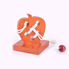 цена Wooden Apple Lacing Threading  Puzzle Kindergarten early Educational Kids Toys Montessori Teaching Aids Cognitive Math Toy онлайн в 2017 году