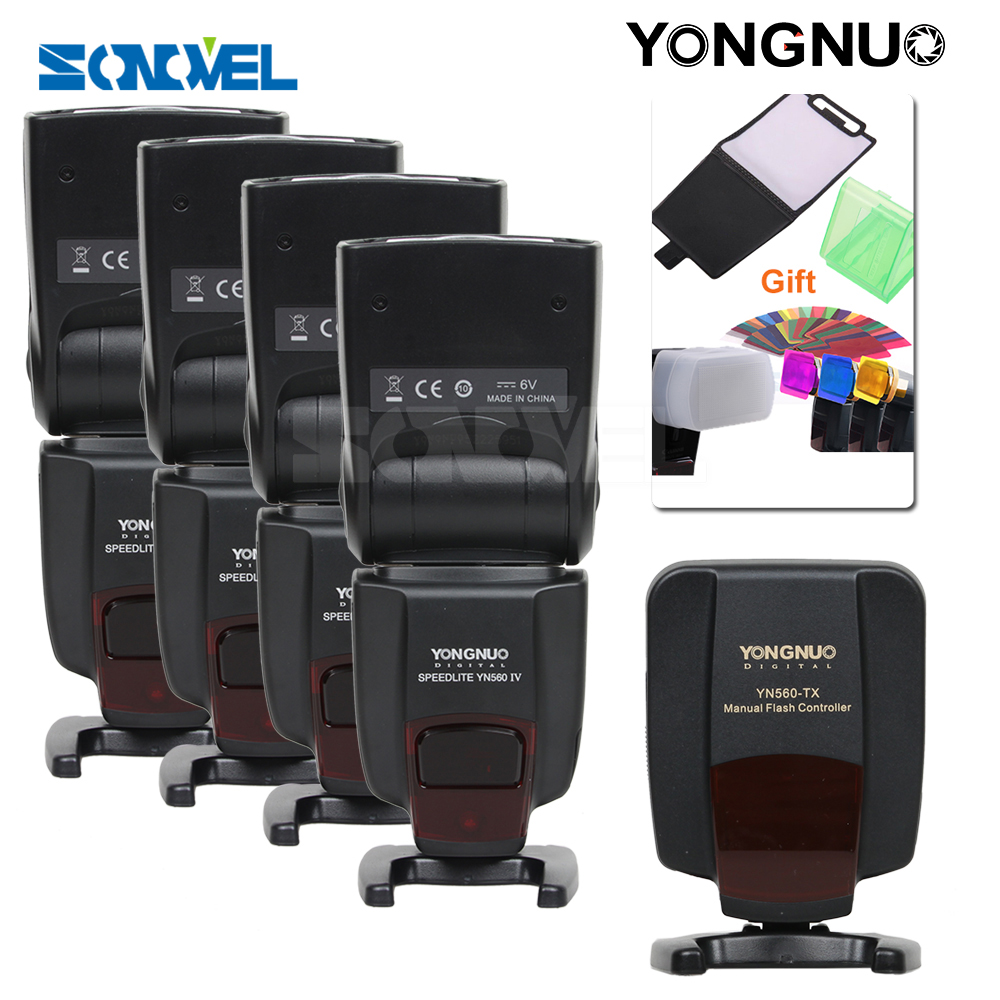 YONGNUO 4X YN560IV YN560-IV YN-560IV+Wireless Speedlite Flash Speedlite Controller YN560TX YN-560TX For Canon Nikon DSLR Camera yongnuo yn560 iv yn560iv wireless control flash speedlite for canon nikon digital slr camera with yongnuo 560tx flash trigger