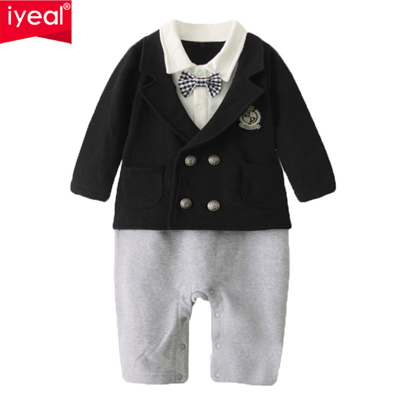 IYEABaby Boy Rompers Cotton Bow Tie Gentleman Party Clothing Spring Toddler Prince Costume Infant Jumpsuits Newborn Boys Clothes top and top summer toddler boy clothes gentleman boy clothing set bow tie romper top straps shorts boys wedding party clothes