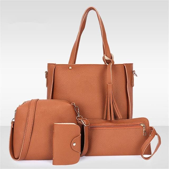 4Pcs/Set Women Leather Handbag Shoulder Bag Tote Purse Messenger bolsos mujer designer bags famous brand women bags 2018 fashion