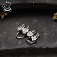 BEBE New Brincos Clip Earing No Hole Boucle D Oreille Bijoux 925 Sterling Silver Ear Cuff