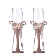 Rustic Wedding Toast Champagne Flutes Bride and Groom Glasses Natural Burlap Twine Wood Heart Decoration(Set of 2