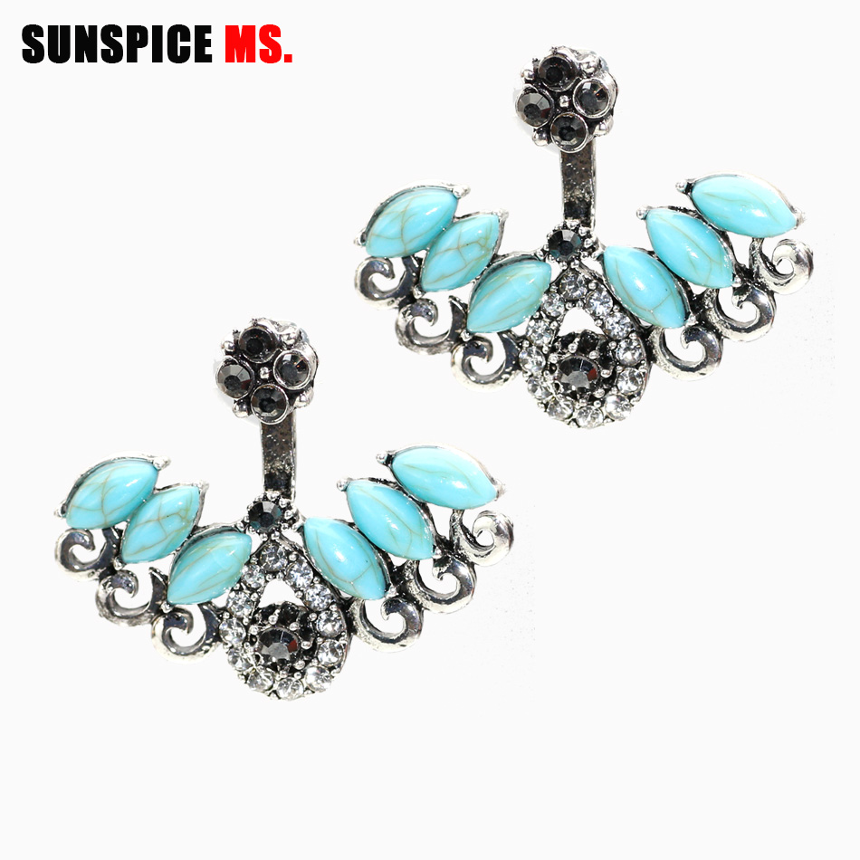 SUNSPICE MS Unique Turkish Stud Earrings For Women Blue Resin Double Sided Crystal Earring Female Brinco Bridal Vintage Jewelry(China)