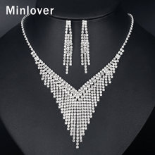 Minlover New Silver Color Full Rhinestone Wedding Jewelry Sets for Women Luxury Bridal Tassel Necklace and Earrings Sets MTL586 цена