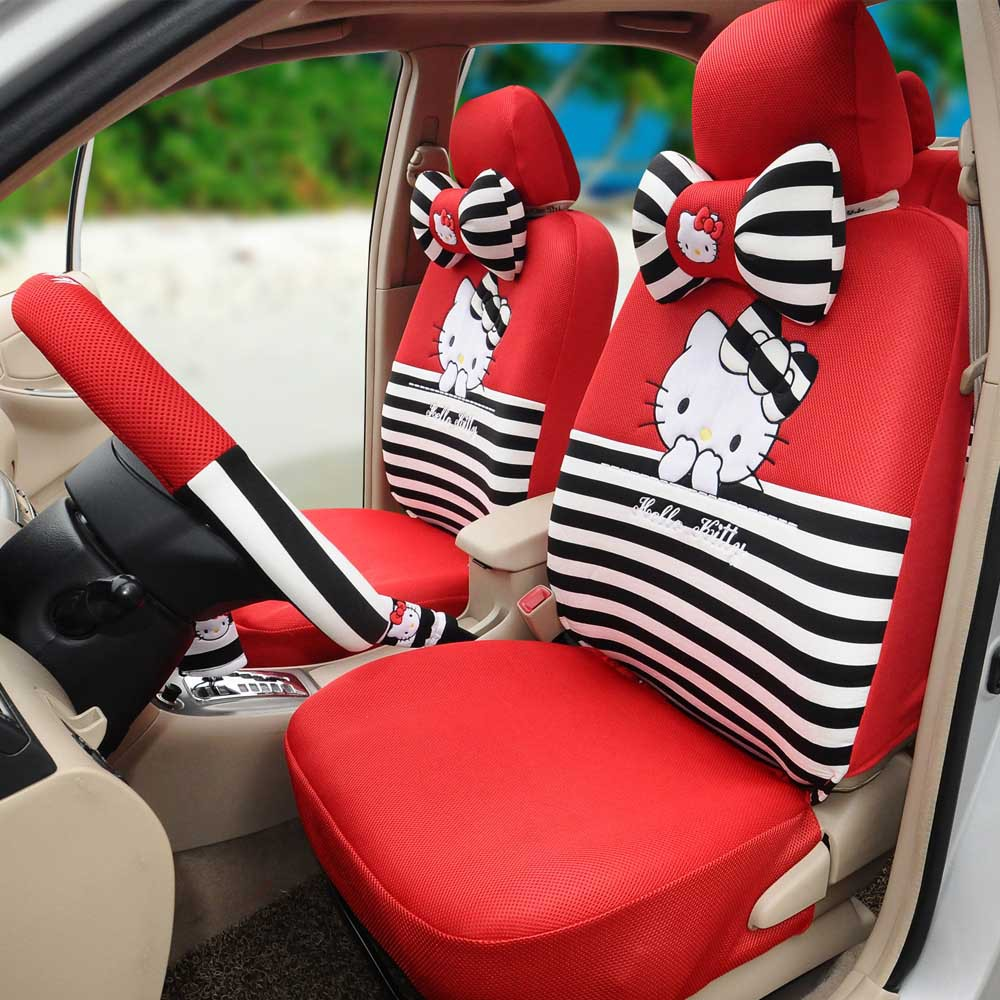 hello kitty car seat covers ice silk red black 18pcs universal car seat cushion car steering. Black Bedroom Furniture Sets. Home Design Ideas