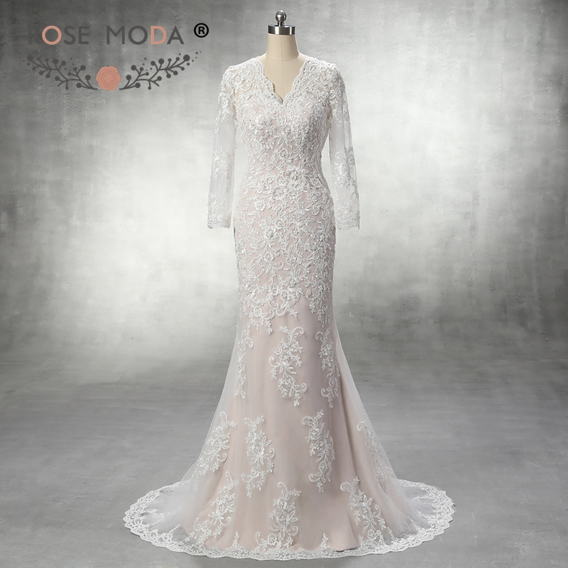 Champagne Lace Wedding Gown: Rose Moda V Neck Ivory Over Champagne Lace Mermaid Wedding