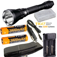 Fenix TK47 UE Ultimate Edition 3200 Lumen LED Tactical Flashlight with ARB L18 2600 battery, ARE X2 charger, car charger