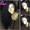 8A Глубокая Вьющиеся Фронта Шнурка Человеческих Волос Парики С Волосами Младенца бразильский Виргинский Волосы Вьющиеся Полное Кружева Парики Человеческих Волос Для Черного женщины