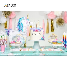 Laeacco Unicorn Cake Balloons Baby Birthday Party Photography Background Customized Photographic Backdrops For Photo Studio