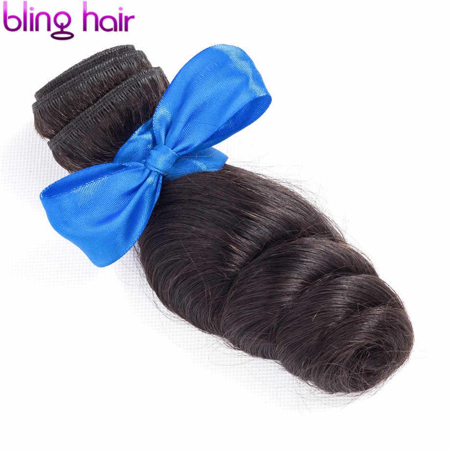 Bling Rambut Gelombang Longgar Rambut Bundel Brasil Rambut Menenun 100% Remy Ekstensi Rambut Manusia Warna Alami 28 30 32 34 Inch