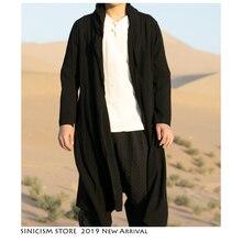 Sinicism Store Men Trench Coat Jacket Man Solid Kimono Cardi