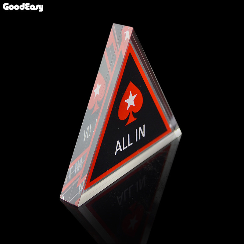 1PCS Pokerstar Acrylic Baccarat Texas Holdem Poker Triangle ALL IN Button Poker Cards Guard Casinio Coins Accessories Wholesale