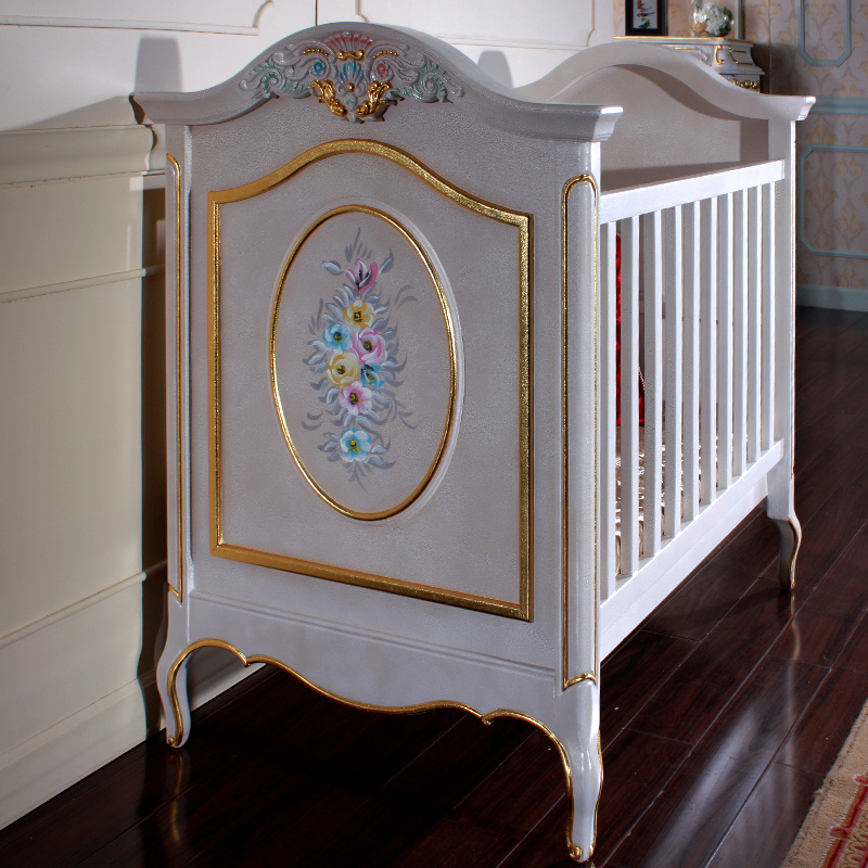 Home European Style Villas,French Garden, Solid Wood Baby Bed, Luxury European Style Baby Bed