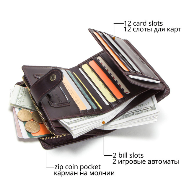 CONTACT'S genuine leather RFID men's wallet short coin purse small hasp walet partmon male short wallets men high quality cuzdan 2