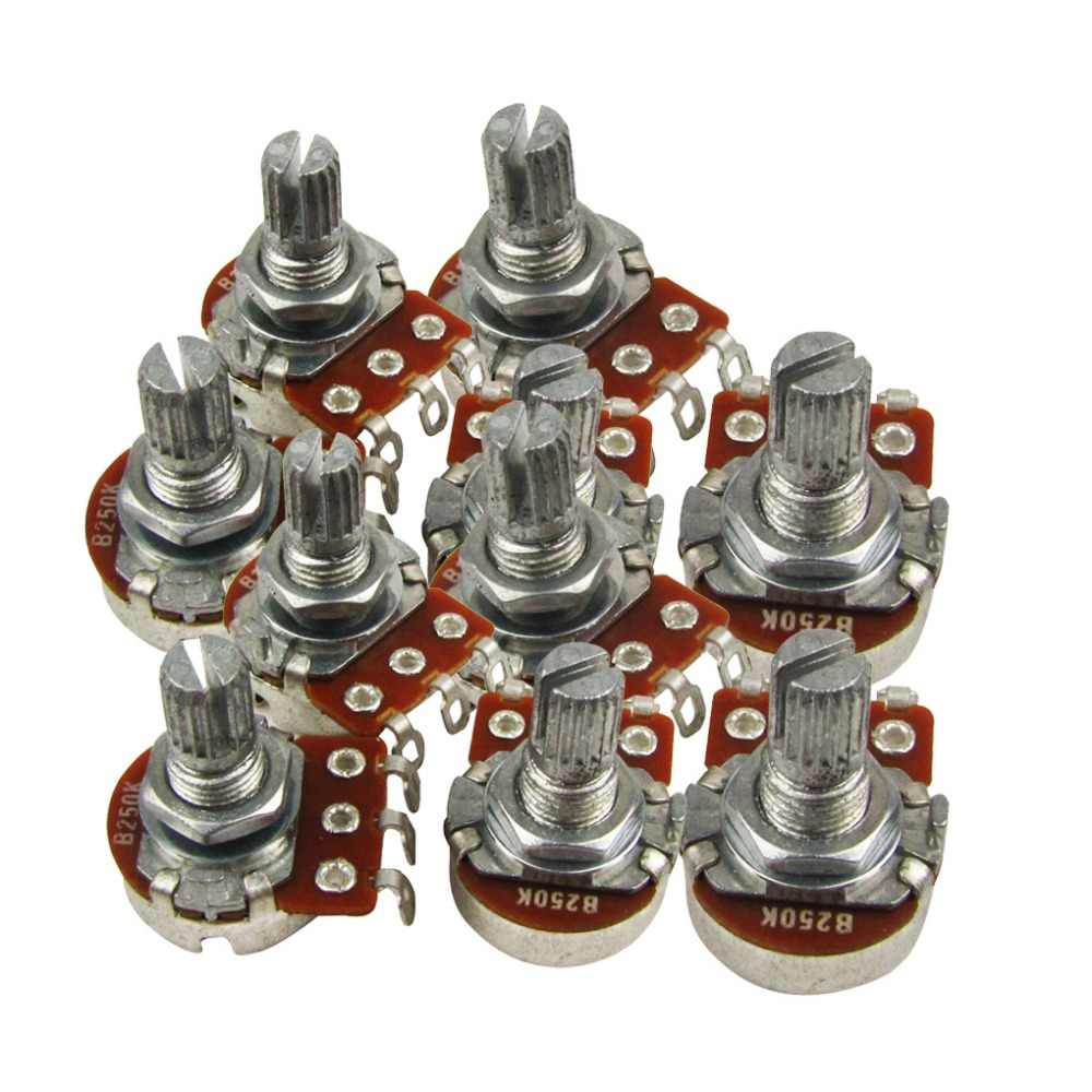 FLEOR 10 pcs Mini Electric Bass Guitarra Potenciômetro Pots B250K Potes de Controle de Volume do Tom de Split Shaft com baioneta ponta Curta